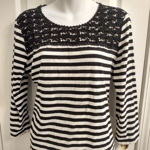Chico's Black & White Stripped Long Sleeve Shirt